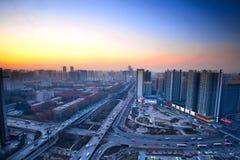Заход солнца современного города Стоковые Фотографии RF