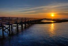 Заход солнца соленого болота Стоковые Изображения RF