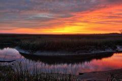 Заход солнца соленого болота Стоковое Фото