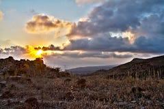 заход солнца соли napa Кипра пляжа ayia Стоковая Фотография