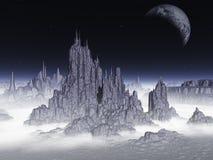 заход солнца солнца неба света ландшафта фантазии птицы волшебный Элементы этого изображения поставленные NASA Стоковое Изображение RF