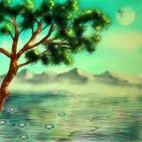 заход солнца солнца неба света ландшафта фантазии птицы волшебный Стоковое Изображение