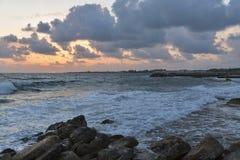 Заход солнца Средиземного моря в Paphos, Кипре Стоковая Фотография RF
