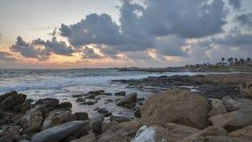 Заход солнца Средиземного моря в Paphos, Кипре Стоковая Фотография