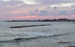 Заход солнца Средиземного моря в Paphos, Кипре Стоковое Изображение RF