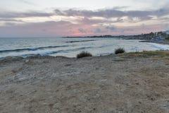 Заход солнца Средиземного моря в Paphos, Кипре Стоковые Изображения RF