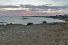 Заход солнца Средиземного моря в Paphos, Кипре Стоковые Фотографии RF