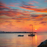 Заход солнца среднеземноморской Аликанте Испания пляжа Denia Стоковое фото RF