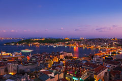 Заход солнца Стамбула Стоковое Изображение