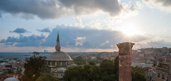 Заход солнца Стамбула Стоковые Фотографии RF