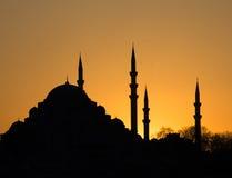 Заход солнца Стамбула Suleymaniye Стоковые Изображения