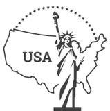 заход солнца статуи newyork вольности города наземный ориентир New York американский символ вектор Стоковые Фото
