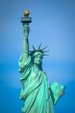 заход солнца статуи newyork вольности города Стоковое Фото