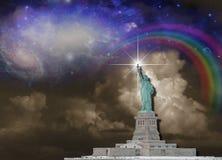 заход солнца статуи newyork вольности города иллюстрация вектора
