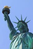 заход солнца статуи newyork вольности города Стоковое фото RF