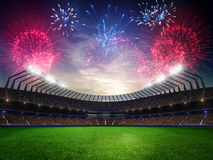 Заход солнца стадиона с вентиляторами людей 3d представляют облачное небо иллюстрации Стоковые Фото