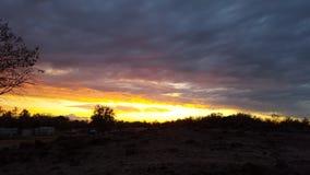 Заход солнца страны Стоковая Фотография