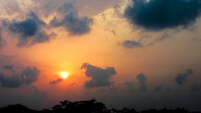 Заход солнца с единорогом Стоковое Фото