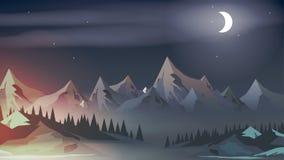 Заход солнца с подъемом горных пиков, соснового леса и луны - вектором i иллюстрация штока