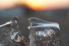 Заход солнца с плавя льдом Стоковое Изображение RF