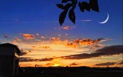 Заход солнца с луной Стоковое Фото