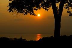 Заход солнца с черной тенью Стоковые Фотографии RF