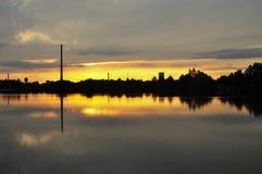 Заход солнца с Spolana Neratovice Стоковое Изображение