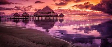 Заход солнца Таити Стоковое фото RF