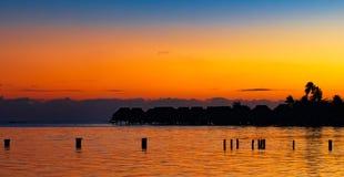 Заход солнца Таити Стоковое Изображение RF