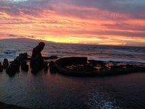 Заход солнца Тенерифе Стоковые Фотографии RF