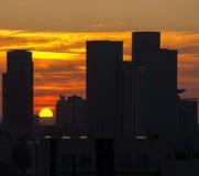 Заход солнца Тель-Авив Стоковые Фото
