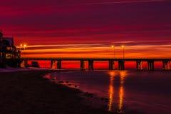 Заход солнца тоннеля моста чесапикского залива Стоковые Фотографии RF