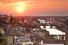 заход солнца Тоскана панорамы florence Италии Италия Стоковые Изображения RF