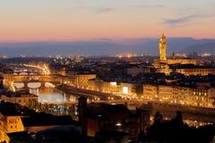 заход солнца Тоскана панорамы florence Италии стоковые изображения rf