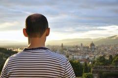 заход солнца Тоскана florence Италии Стоковая Фотография RF
