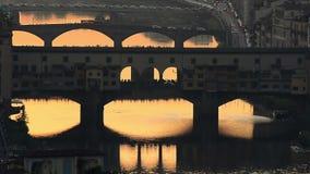 заход солнца Тоскана florence Италии видеоматериал
