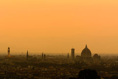 заход солнца Тоскана florence Италии Стоковое Изображение