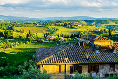 Заход солнца Тосканы Стоковые Изображения
