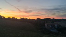 Заход солнца Тосканы Стоковое Изображение