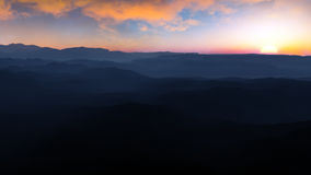 Заход солнца тумана каньона Стоковые Фотографии RF