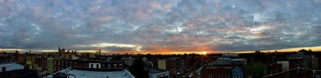 Заход солнца Филадельфия крыши панорамный Стоковое Изображение