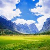 заход солнца французских гор chamonix alps утесистый Горные вершины Италия доломита Стоковое Изображение