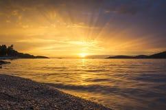 заход солнца Хорватии Стоковое Изображение
