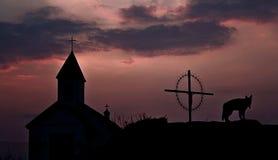 заход солнца церков Стоковые Фото