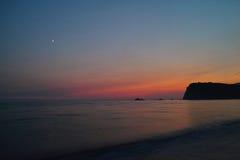 Заход солнца Черногории на Средиземном море Стоковые Изображения RF