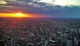 заход солнца Чикаго Стоковые Фото