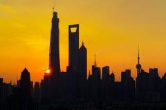 Заход солнца Шанхая Стоковое Фото