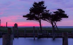 Заход солнца Эвона NC над звуком Стоковое Изображение