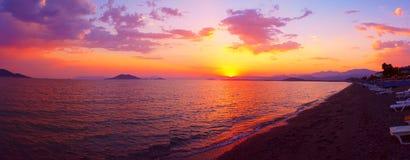 Заход солнца Эгейского моря Стоковая Фотография RF