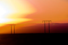 заход солнца дюн Дубай пустыни Стоковая Фотография RF